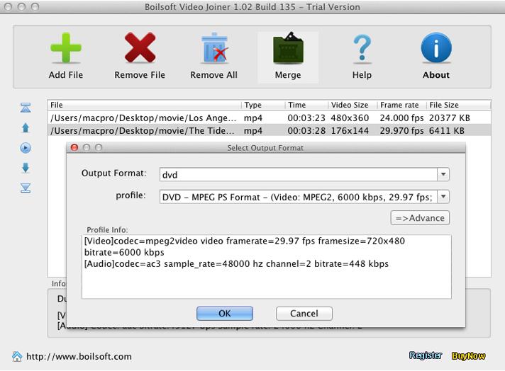 Video Editing Software, Boilsoft Video Joiner Screenshot