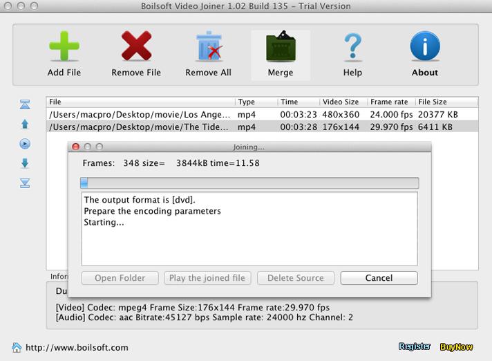 Video Software, Boilsoft Video Joiner Screenshot
