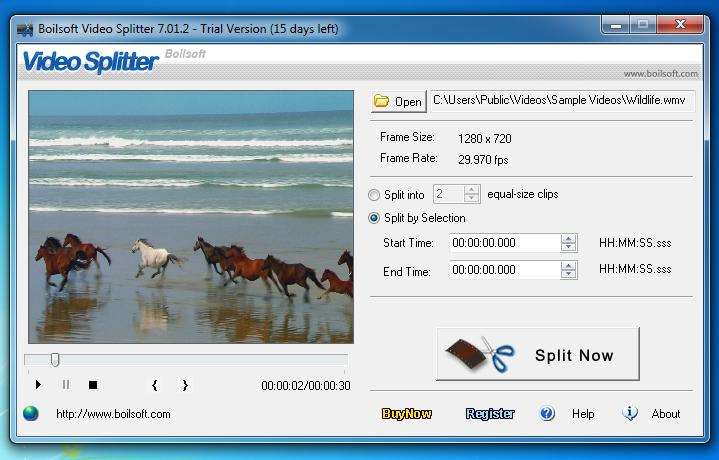 Boilsoft Video Splitter Screenshot