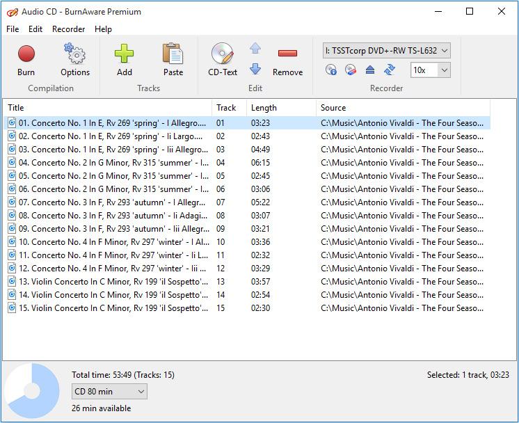 BurnAware Premium, Video Software Screenshot