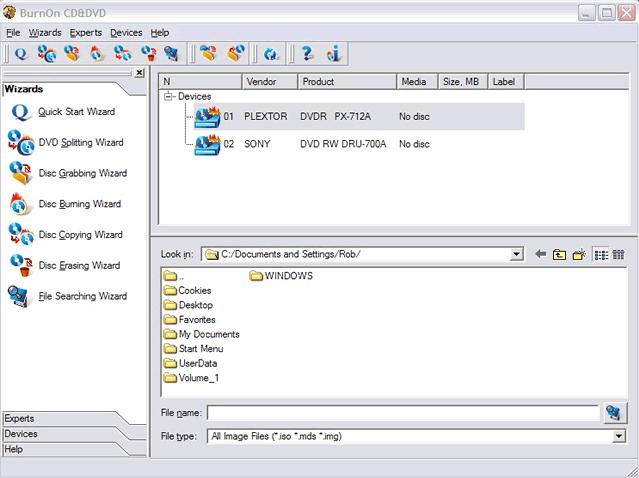 BurnOn CD/DVD Screenshot