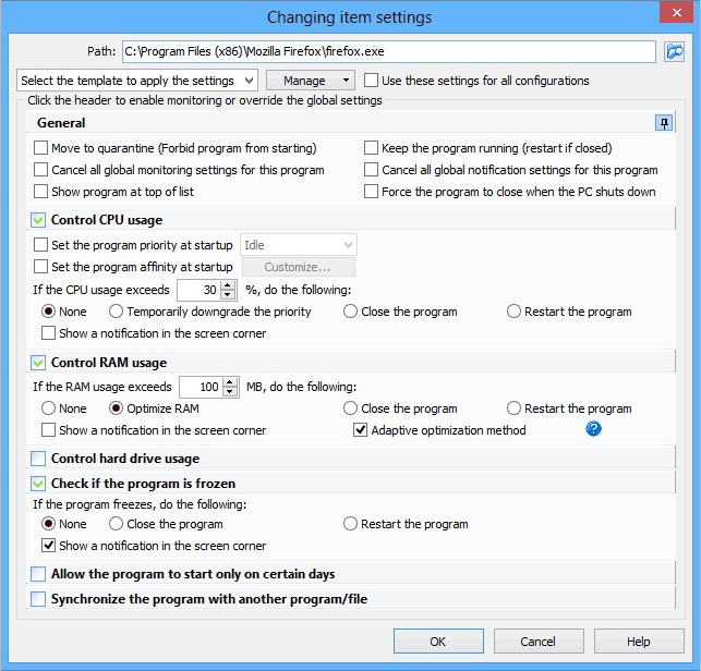Chameleon Task Manager, Desktop Customization Software Screenshot