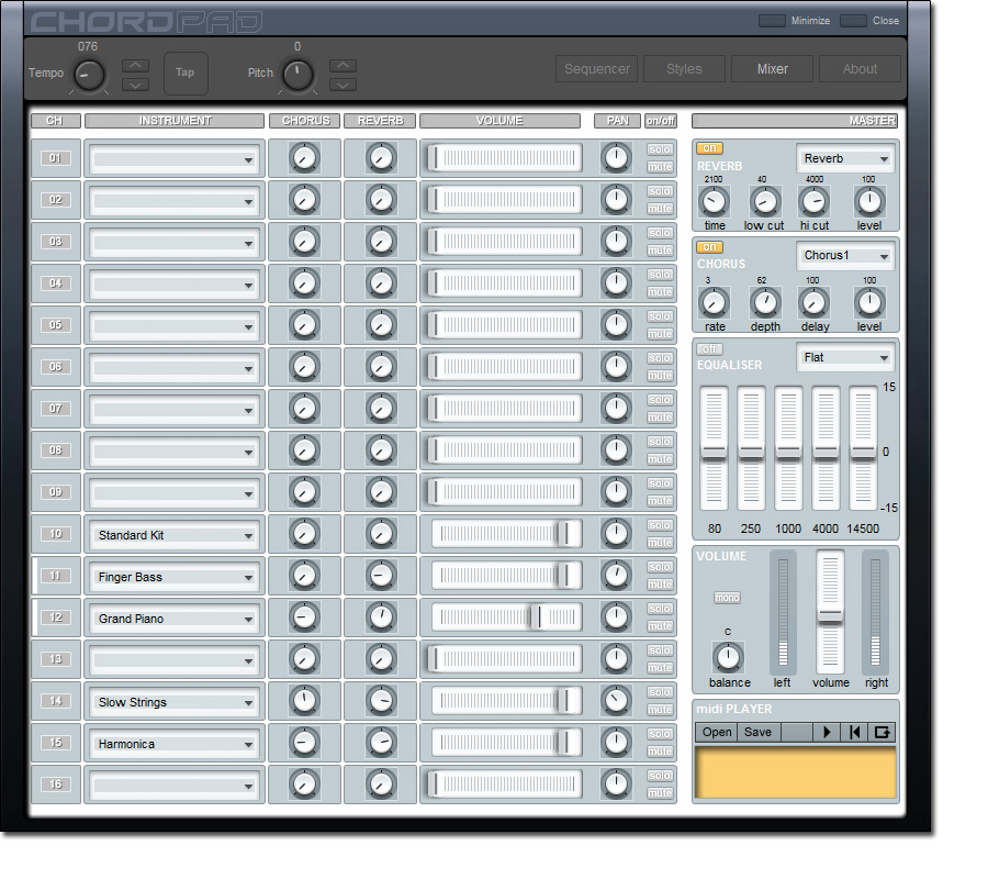 Chord Pad, Music Software Screenshot