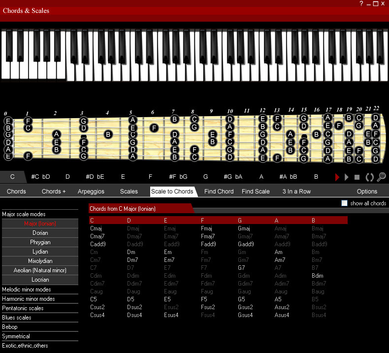 Chords & Scales Screenshot