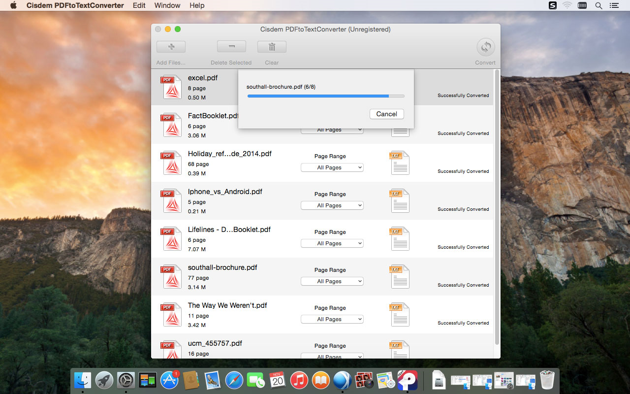 Cisdem PDFtoTextConverter for Mac, PDF Conversion Software Screenshot
