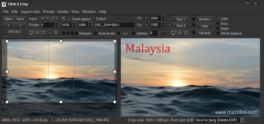 Click 2 Crop, Graphic Design Software Screenshot