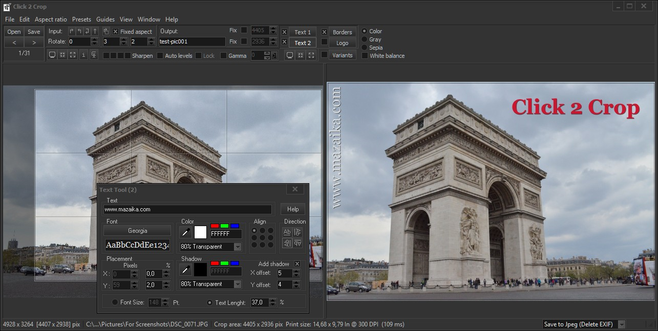Design, Photo & Graphics Software, Click 2 Crop Screenshot