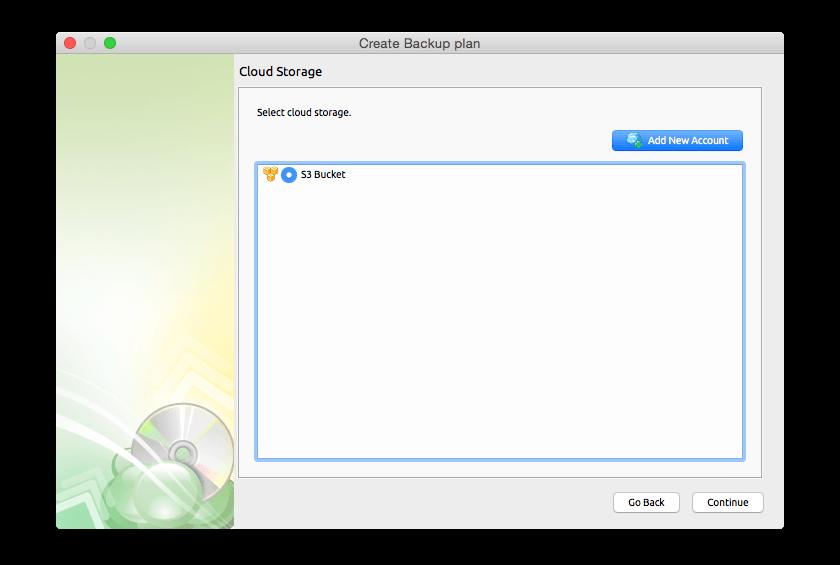 Cloudberry Backup for Mac, Security Software Screenshot