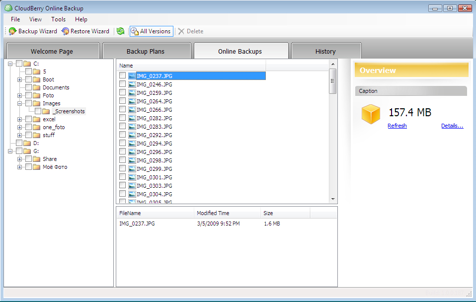 CloudBerry Backup, Access Restriction Software Screenshot