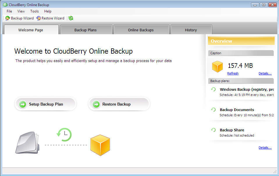 CloudBerry Backup Screenshot