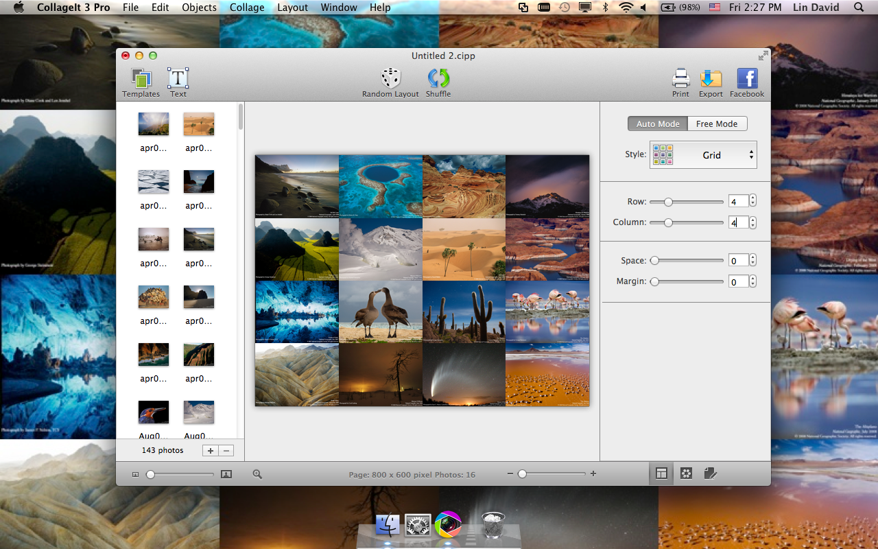 CollageIt for Mac, Graphic Design Software Screenshot