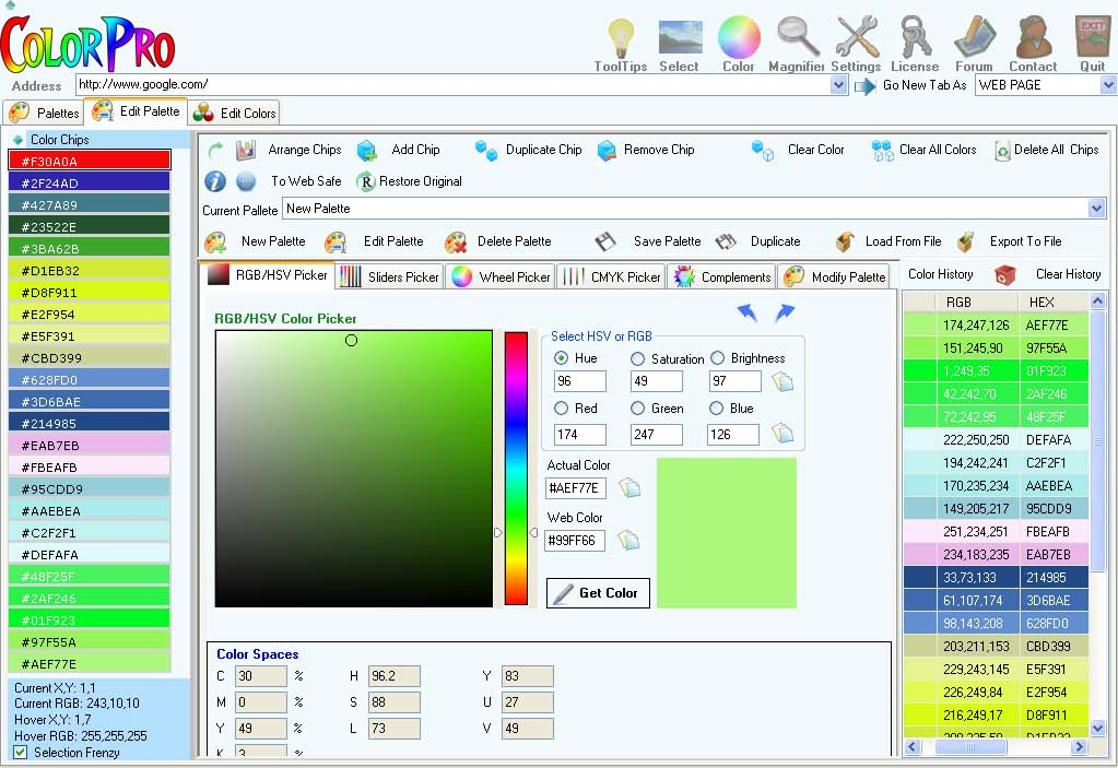 ColorPro, Design, Photo & Graphics Software, Color Selection Software Screenshot