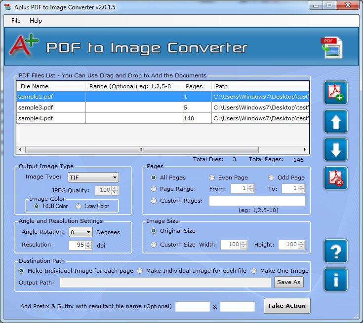 Convert PDF to JPG, TIFF, PNG, GIF, BMP Screenshot
