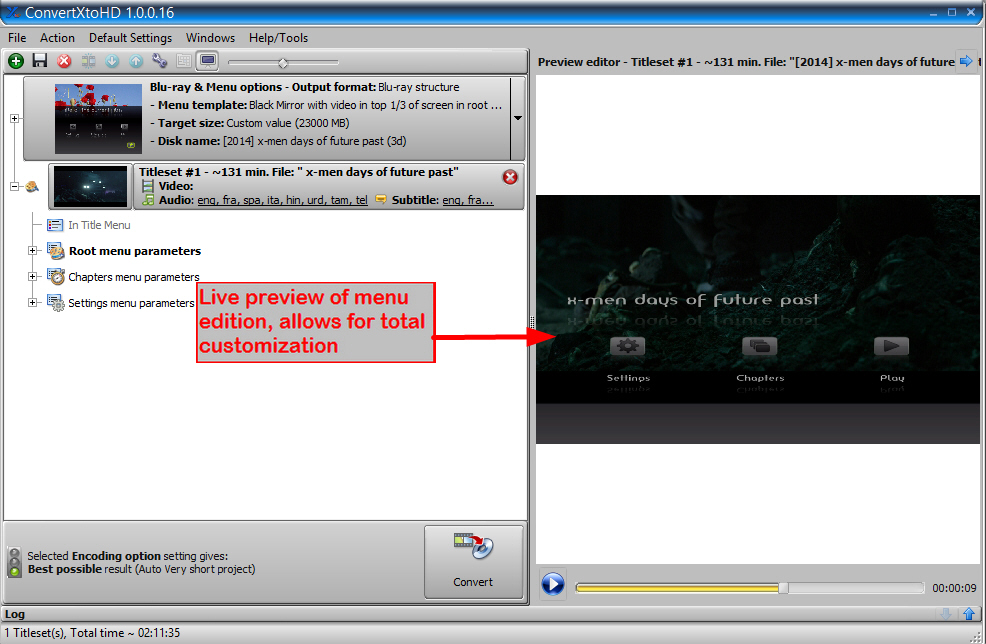 ConvertXtoHD, Video Converter Software Screenshot