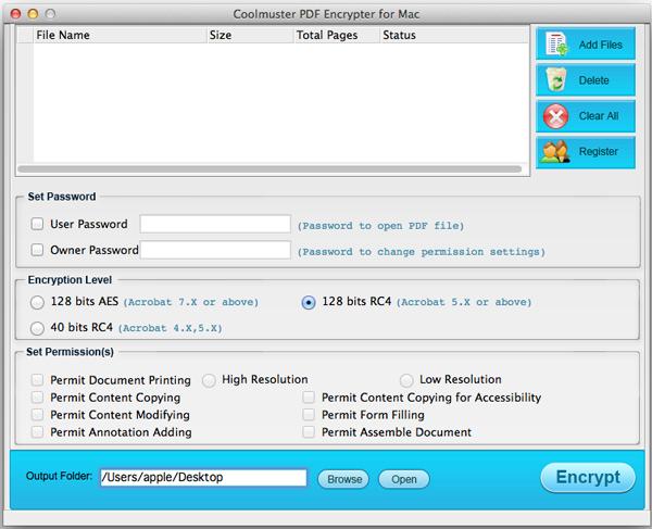 Coolmuster PDF Encrypter for Mac Screenshot