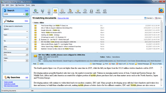 Copernic Desktop Search Professional, Software Utilities Screenshot