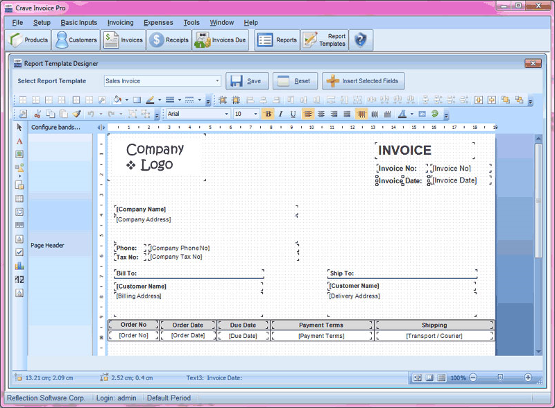 Crave Invoice, Accounting Software Screenshot