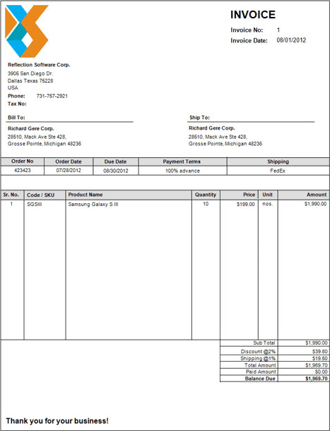 Crave Invoice Screenshot