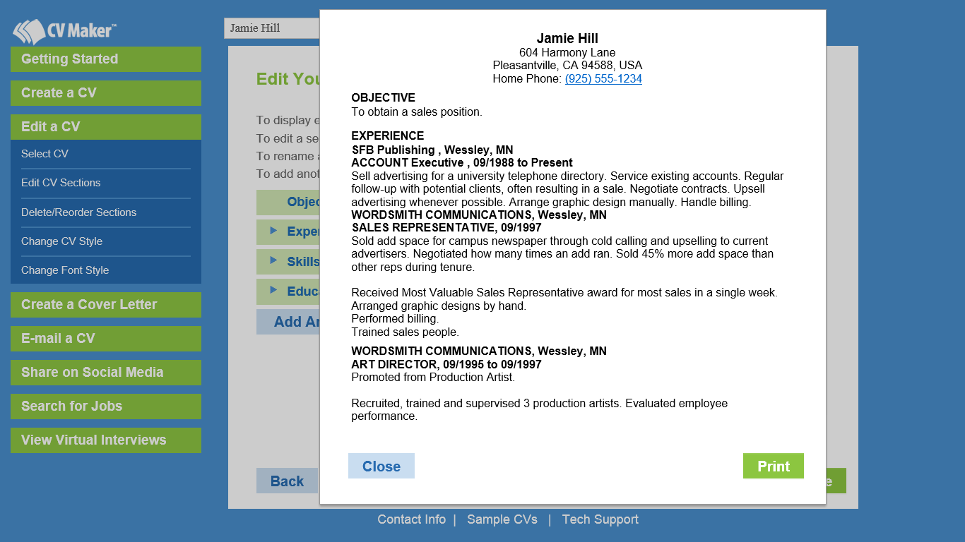 cv maker job search business card software screenshot