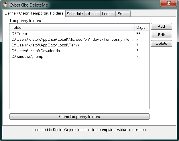 CyberKiko DeleteMe - temporary directory cleaner Screenshot