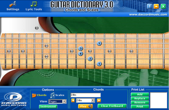 D\'Accord Guitar Chord Dictionary 3.0 - Music Software for PC