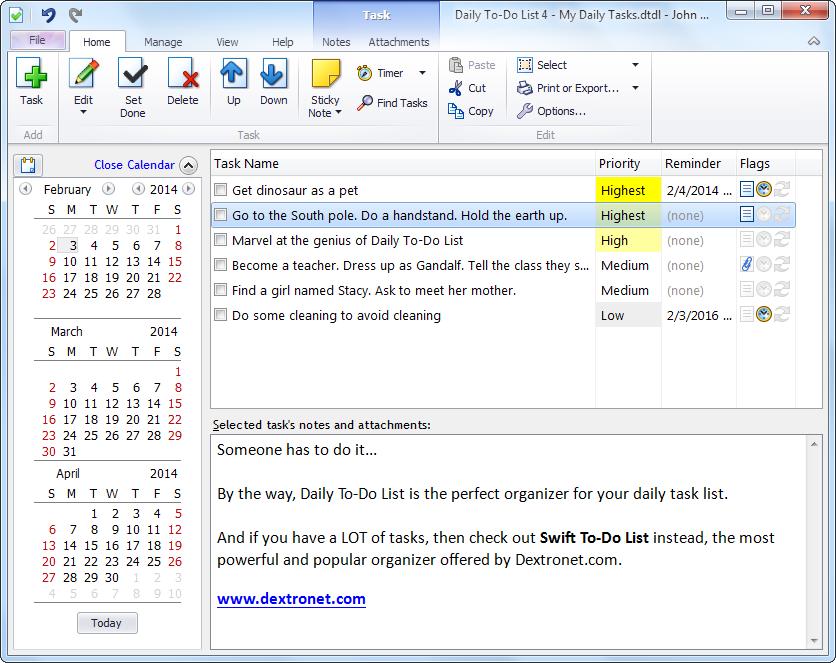 Daily To-Do List Screenshot