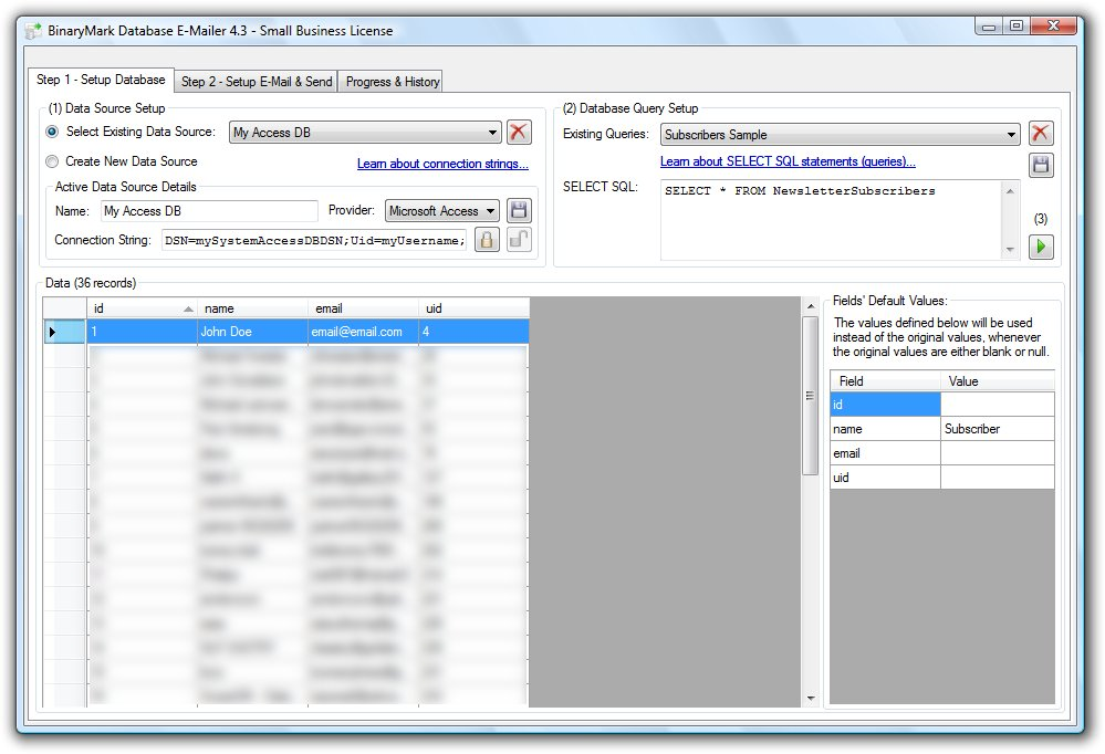 Database E-Mailer Screenshot