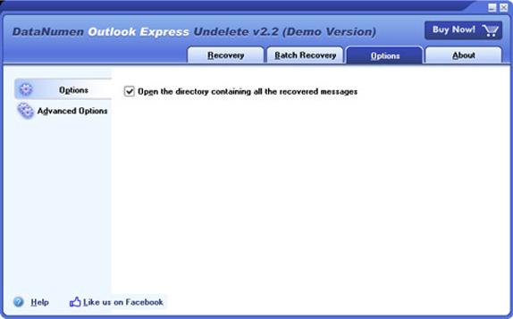DataNumen Outlook Express Undelete, Email Tools Software Screenshot