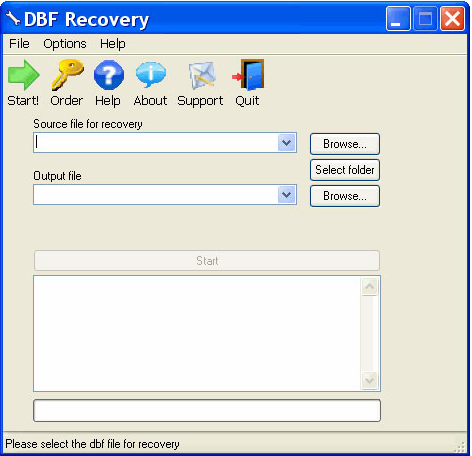 DBF Recovery Screenshot