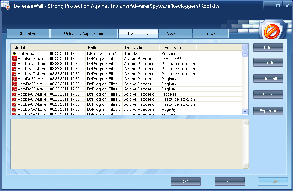 DefenseWall HIPS, Antivirus Software Screenshot