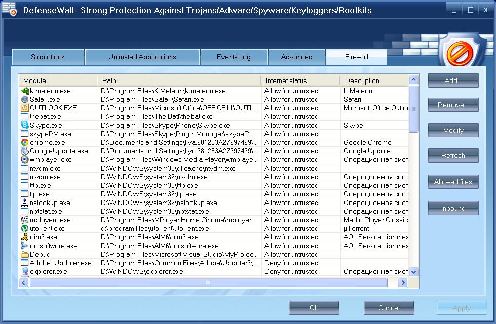 Antivirus Software, DefenseWall HIPS Screenshot