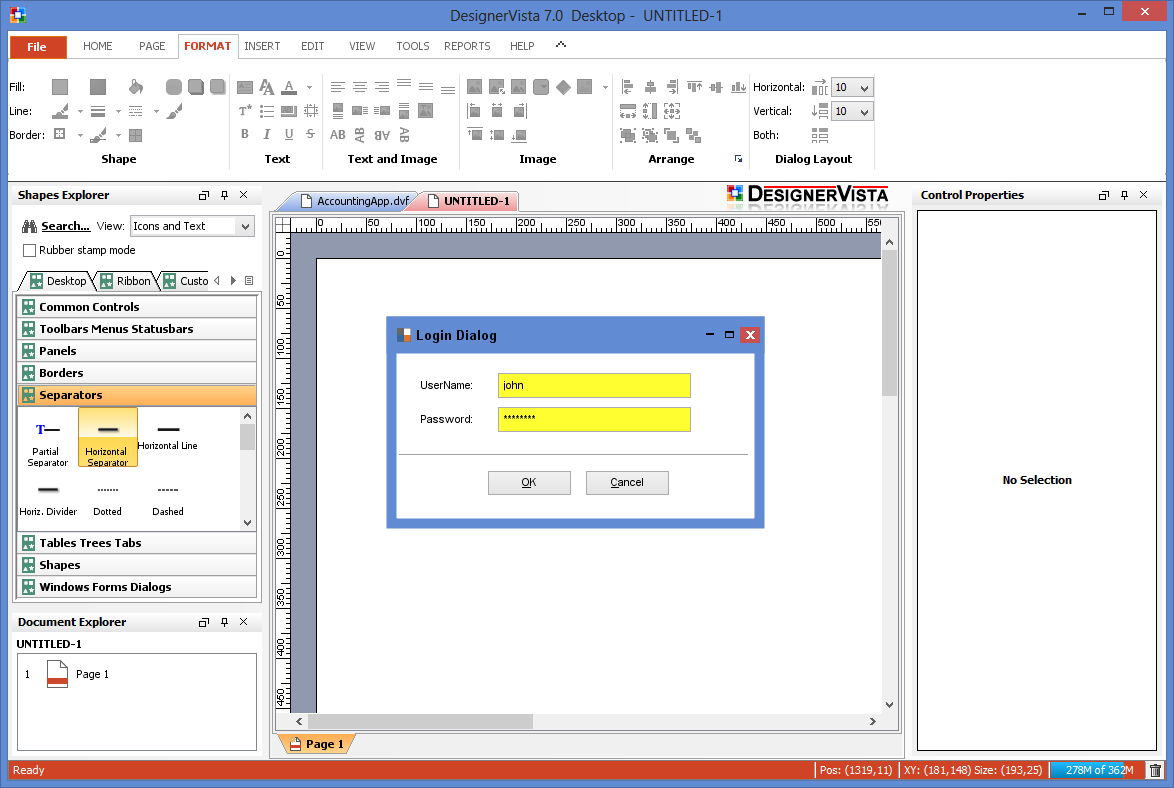 DesignerVista GUI Mockup Software Screenshot