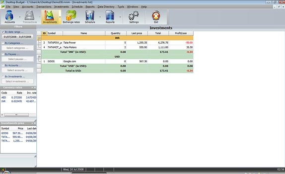 Desktop Budget, Personal Finance Software Screenshot