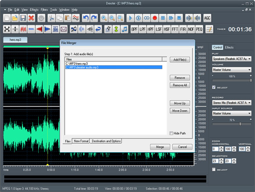 Dexster, Audio Software Screenshot