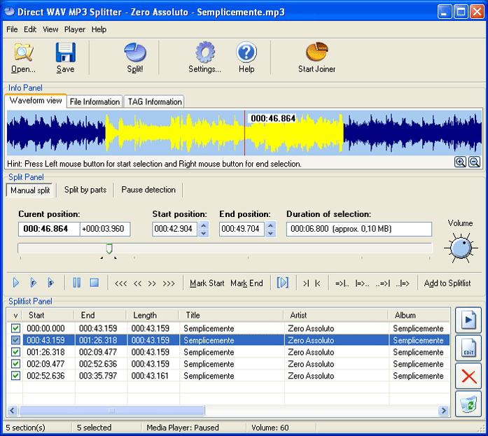 Direct WAV MP3 Splitter Screenshot