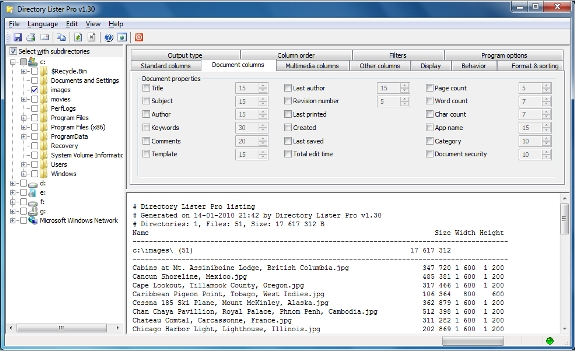 Directory Lister Pro and Backup Dwarf Professional, Software Utilities Screenshot