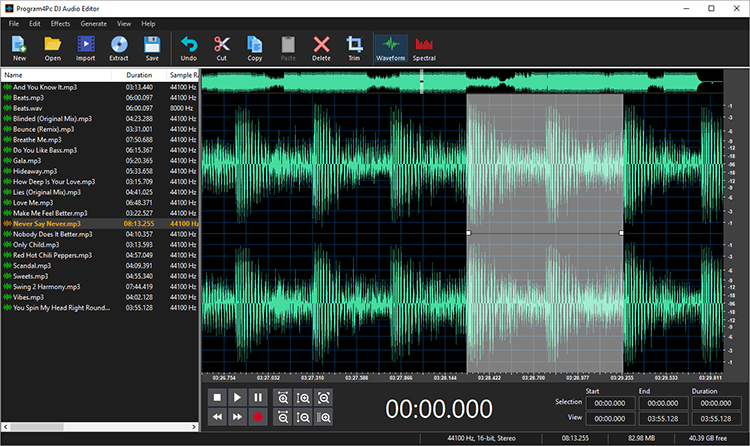 DJ Audio Editor Screenshot