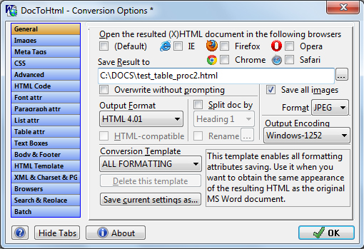 Doc To HTML Converter Screenshot