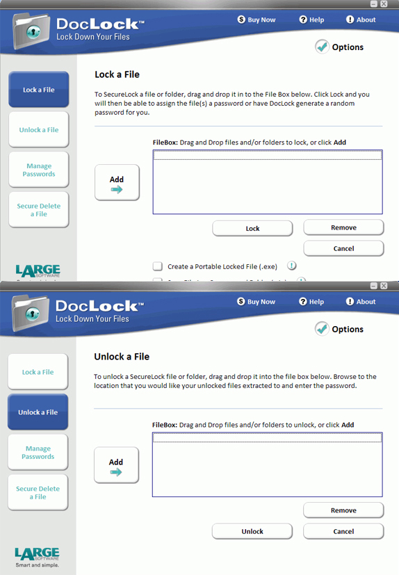 docLock - 3 user license, Encryption Software Screenshot
