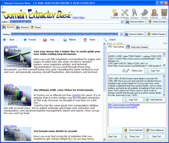 Domain Extractor Basic Screenshot