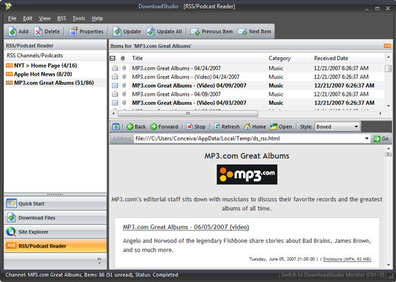 DownloadStudio, Internet Software, Internet Download Manager Software Screenshot