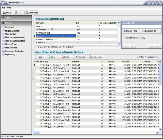 DrivEvaluator, File Management Software Screenshot