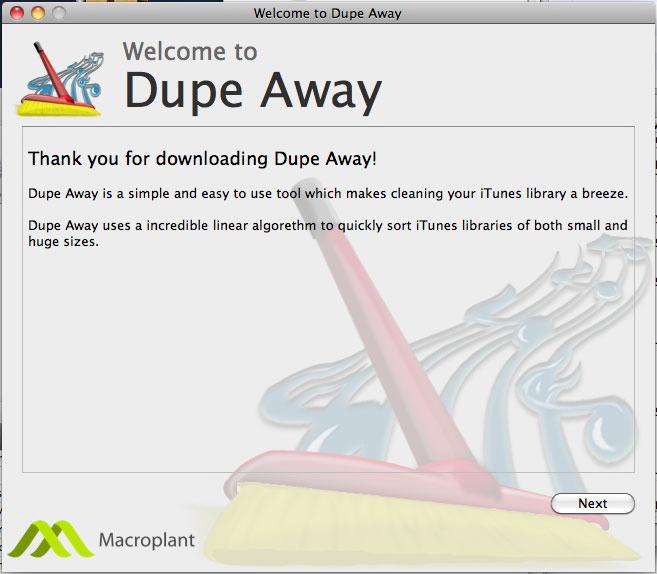 Dupe Away, iPod iPhone iTunes Software Screenshot