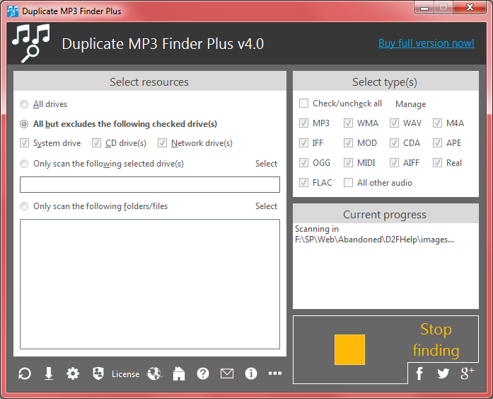 Duplicate MP3 Finder Plus, Duplicate Files Software Screenshot