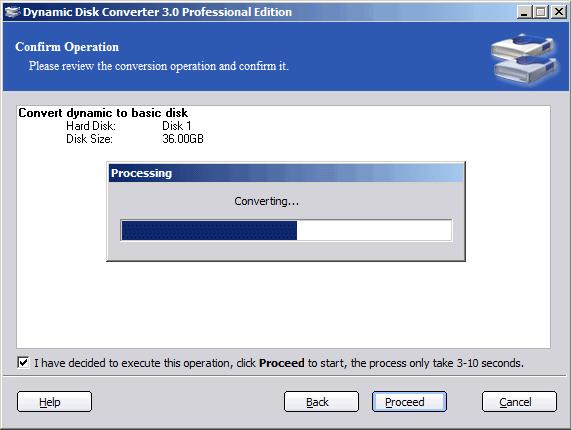Dynamic Disk Converter Professional Edition, Hard Drive Software Screenshot