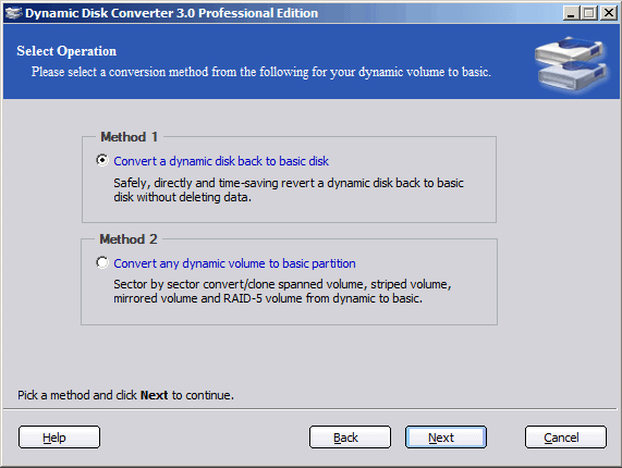 Dynamic Disk Converter Professional Edition Screenshot
