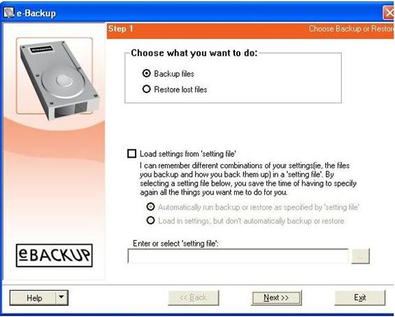 e-Backup Screenshot