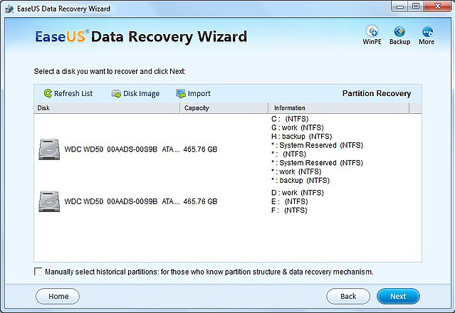 Recovery Software, EASEUS Data Recovery Wizard Screenshot