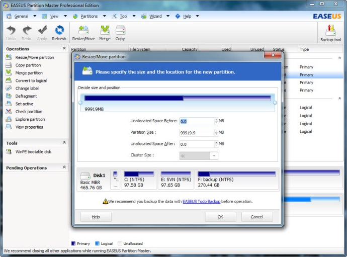 EaseUS Partition Master Professional Edition (Built-in Linux bootable disk license) Screenshot
