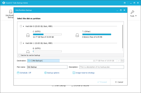 EaseUS Todo Backup Home Screenshot